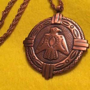 Vintage BELL COPPER eagle pendant Native American